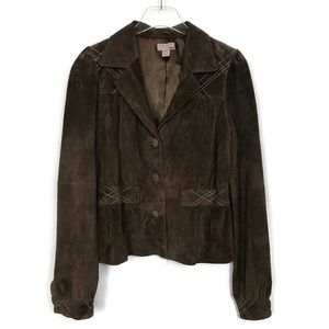 H&M Brown Suede Jacket Button Front Size 12
